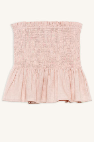 ASH SHIRRED TOP in colour MISTY ROSE