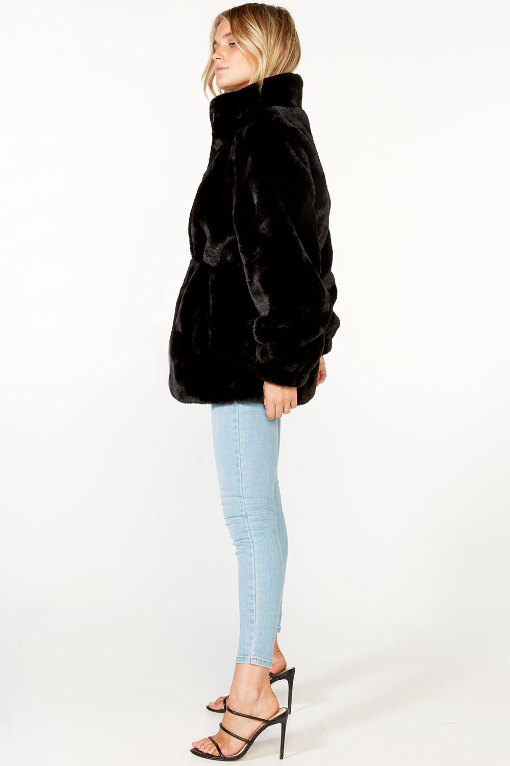 KARA FAUX FUR JACKET in colour CAVIAR