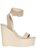 LEATHER WOOD WEDGE in colour SHELL