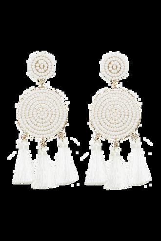 BEADED FRINGE EARRINGS in colour WHITE ALYSSUM