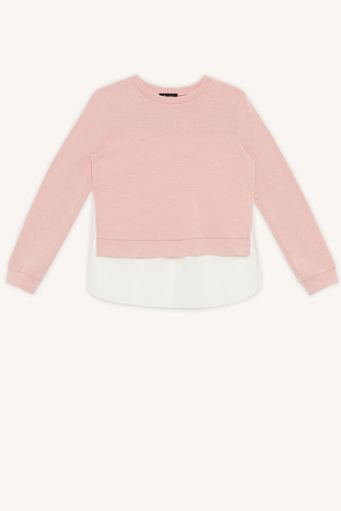 BLAIRE MIXED SWEAT TOP in colour PRIMROSE PINK