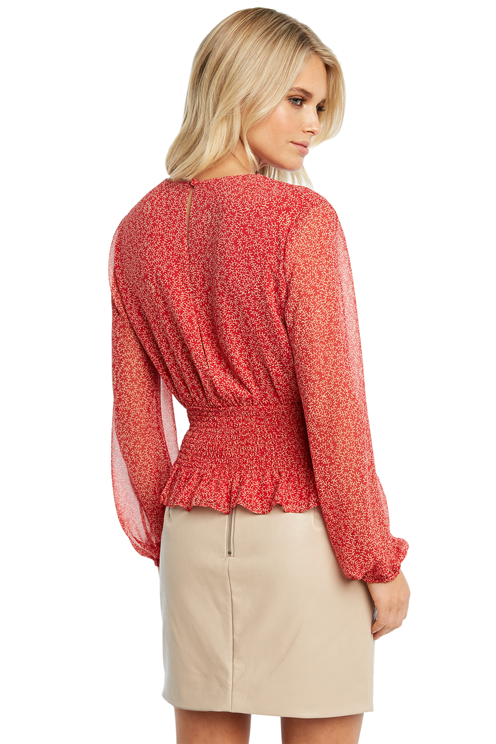 PAISLEY SHIRRED TOP in colour SKI PATROL
