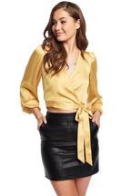 ELENA TIE BLOUSE in colour ASPEN GOLD
