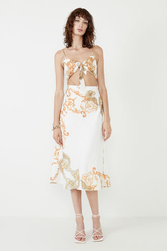 PAISLEY CUT OUT DRESS in colour MARSHMALLOW