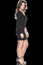SOPHIE RIB DRESS in colour CAVIAR