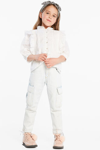 LUCY TRIM BLOUSE in colour CLOUD DANCER