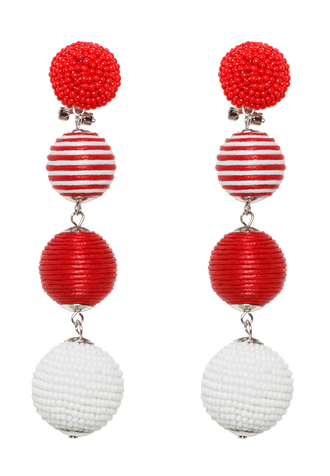 MULTI BEAD BALL EARRING in colour RED BUD