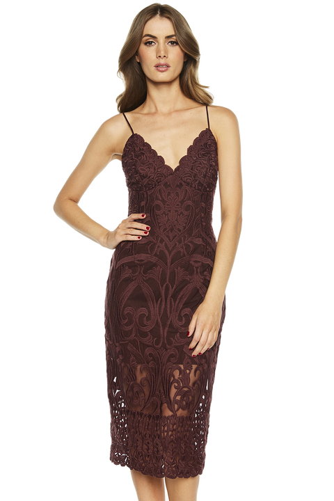 GIA LACE DRESS. in colour WINETASTING