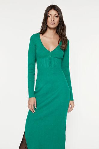 COLLAR KNIT DRESS in colour PEPPER GREEN