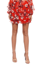 FLORAL RAH RAH SKIRT in colour POPPY RED