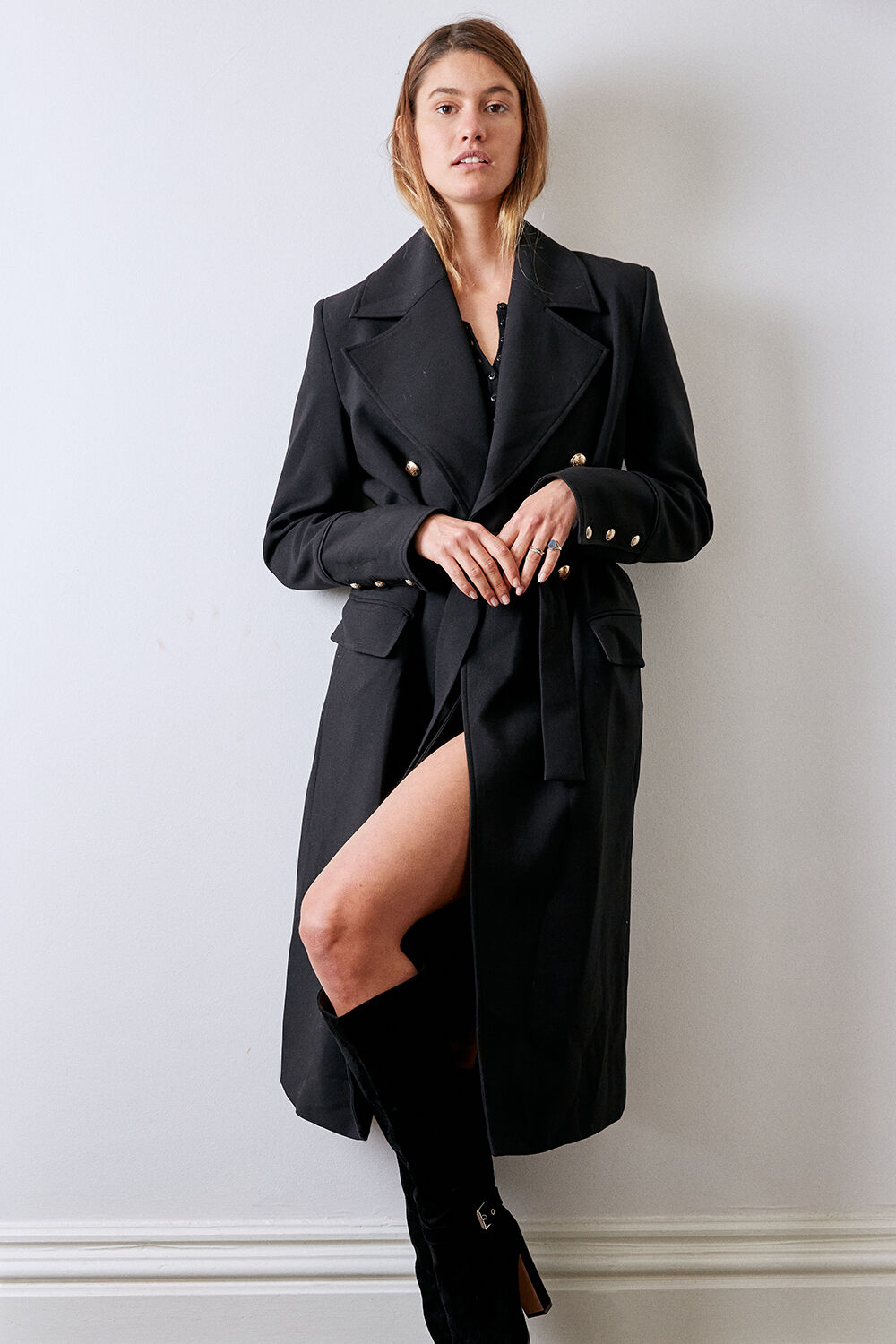 CIARA MIDI COAT in colour CAVIAR
