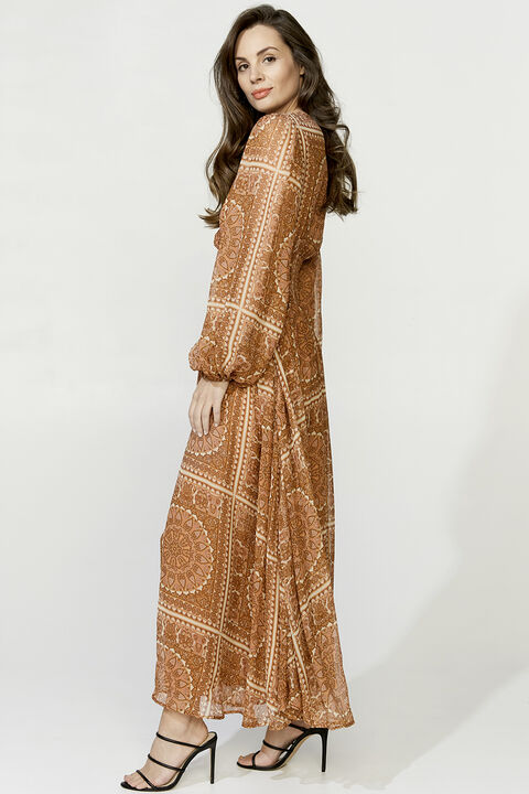 MARA MAXI DRESS in colour MUTED CLAY