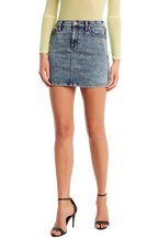 ACID WASH TUSK MINI SKIRT in colour BRIGHT WHITE