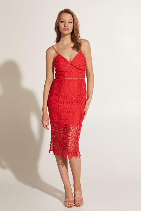 ROXY LACE DRESS in colour HIGH RISK RED