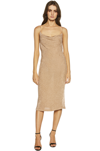 DANI LUREX KNIT DRESS in colour CARAMEL