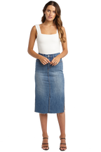 DENIM MIDI SKIRT in colour DUSTY BLUE