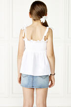 TWEEN GIRL nora shirred top in colour CLOUD DANCER