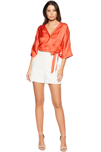 BELLA WRAP TOP in colour TIGERLILY