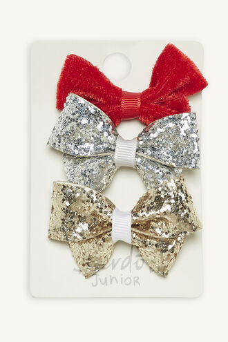 VELVET GLITTER BOW 3PK in colour RED BUD