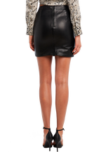 ALEXIS LEATHER SKIRT in colour CAVIAR