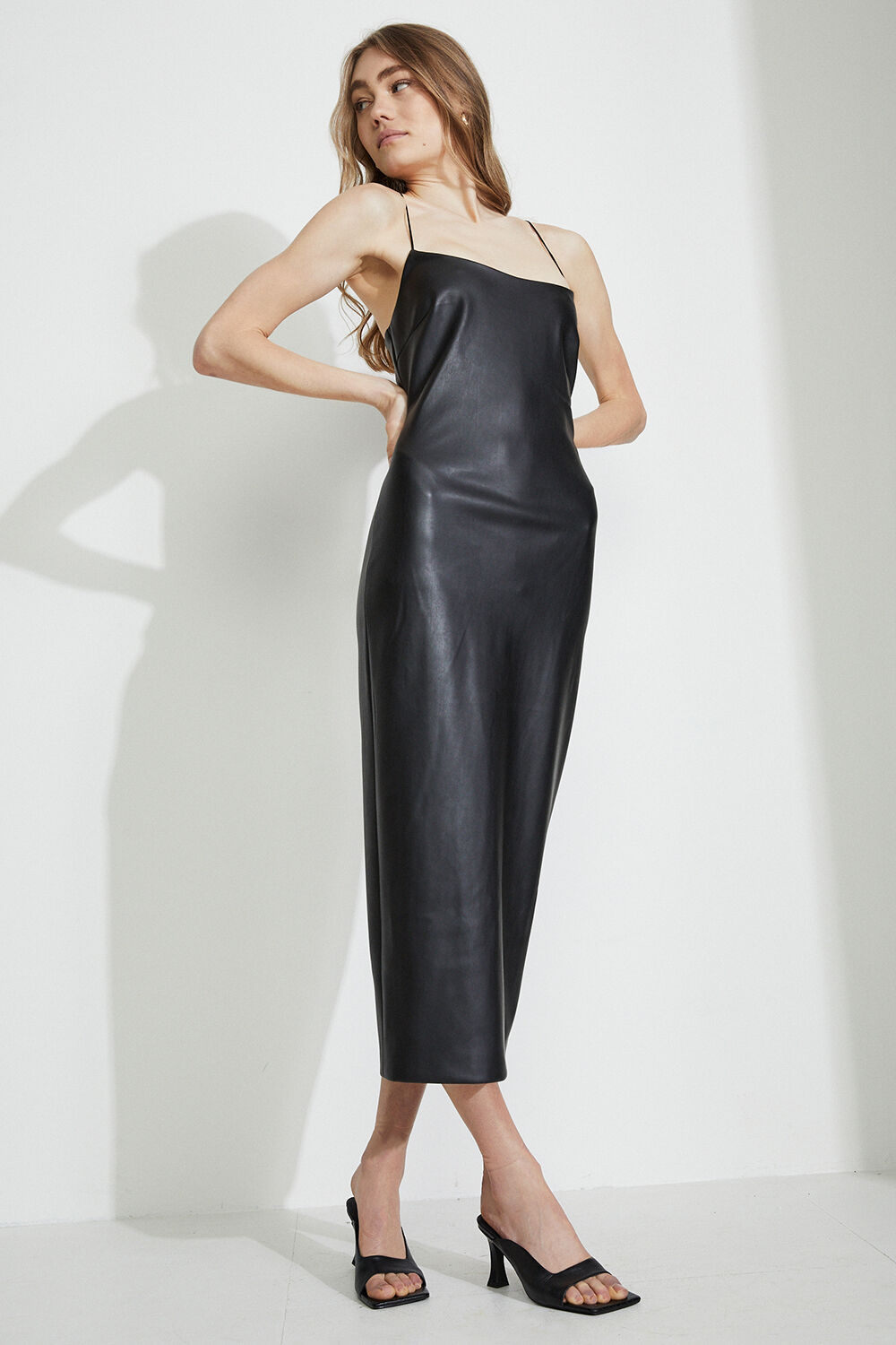 HELENA VEGAN LEATHER DRESS  in colour CAVIAR