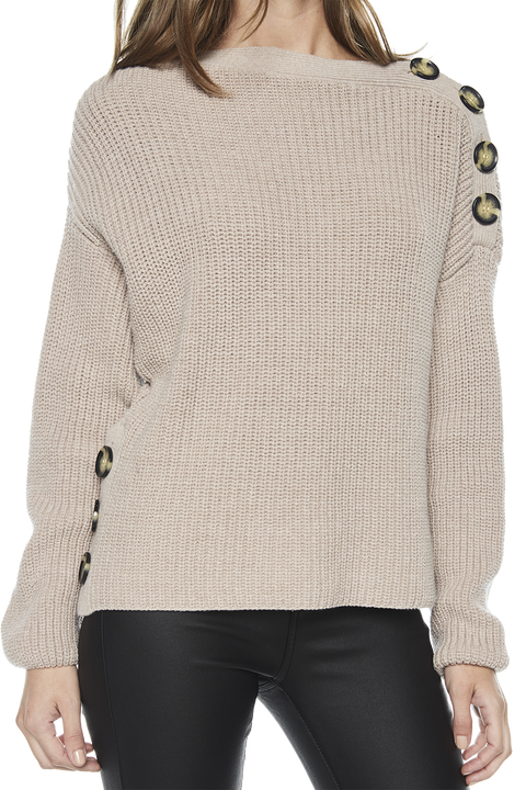 BUTTON SHOULDER KNIT in colour OATMEAL