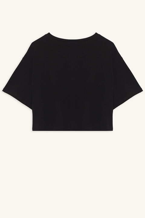 POWER CROPPED TEE in colour JET BLACK