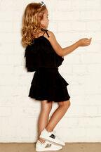 LORENA FRILL TOP in colour JET BLACK