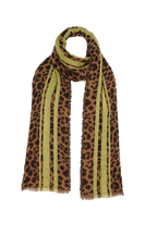 LEOPARD STRIPE SCARF in colour ANTELOPE