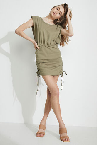 TONI SHOULDER PAD MINI DRESS in colour OLIVE NIGHT