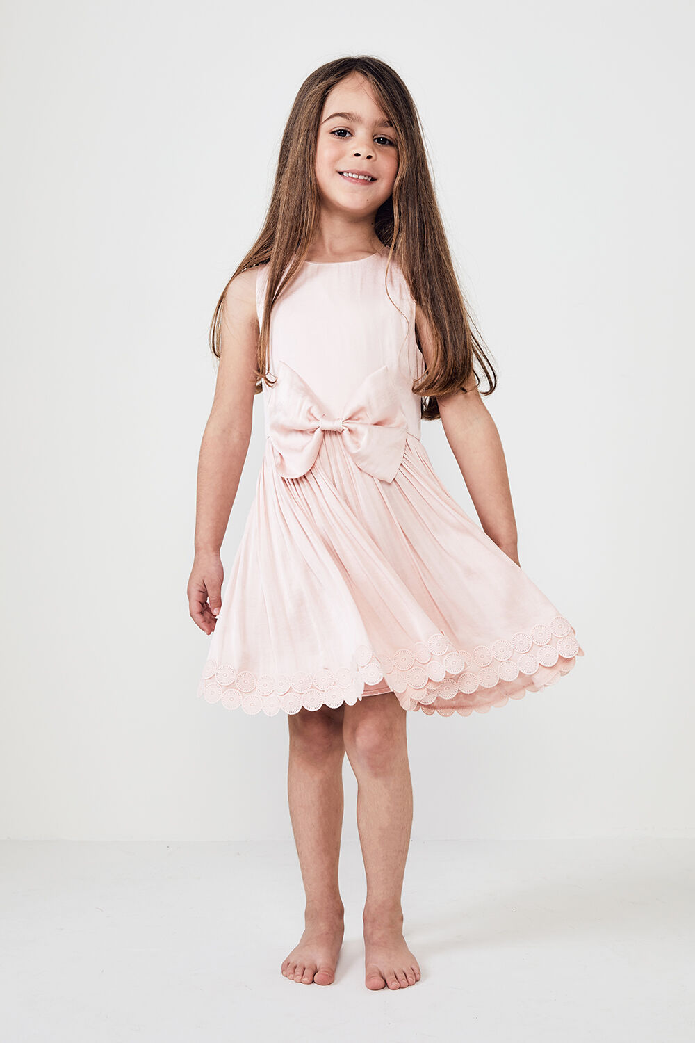 JUNIOR GIRL BOWIE TRIM DRESS   in colour POTPOURRI