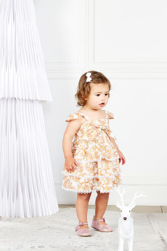 ABIGAIL TIER DRESS in colour AMBER BROWN