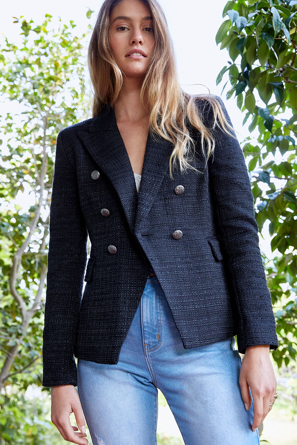 CIARA STRIPE BLAZER in colour CAVIAR