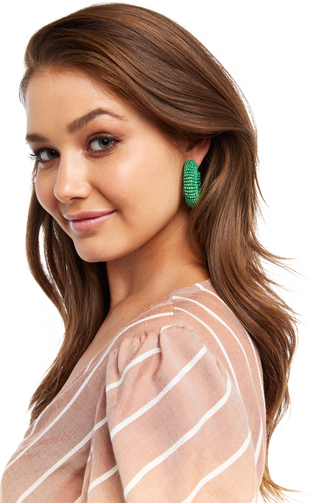 BEADED LOVE HOOP in colour GREEN ASH