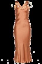SANDIE SLIP DRESS in colour SANDSTONE