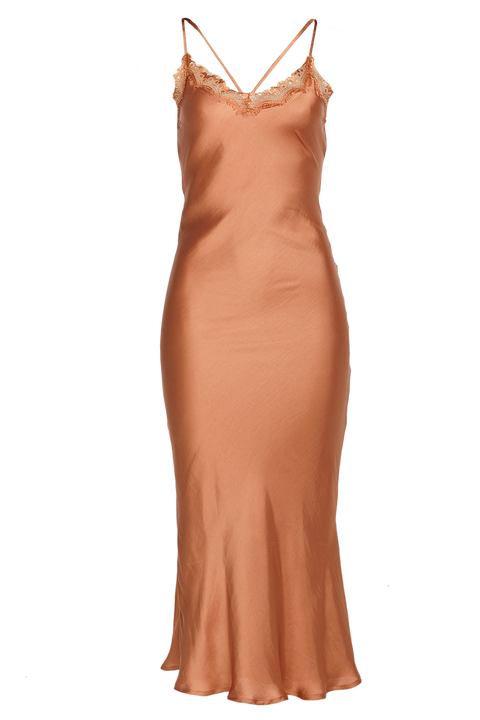 SANDIE SLIP DRESS in colour SANDSTONE