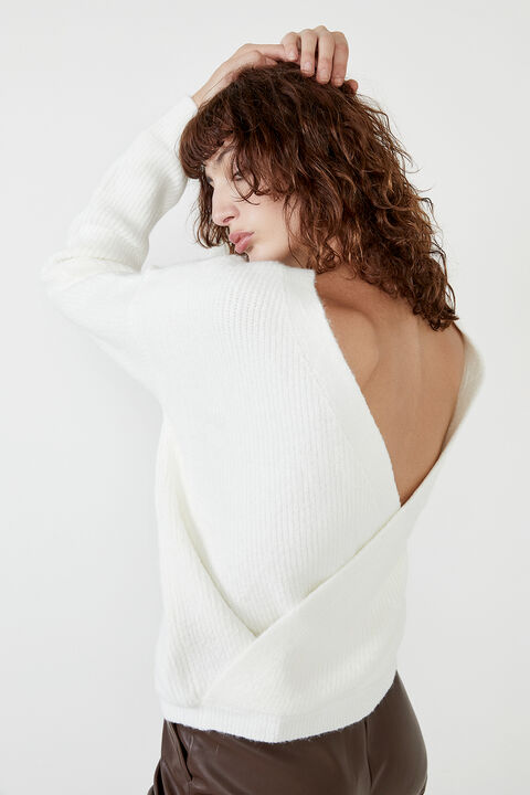 THE CROSS BACK KNIT in colour CLOUD DANCER