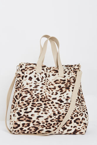 LEOPARD LINEN TOTE in colour LATTE