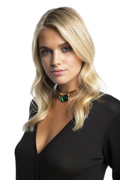 DOUBLE CHOKER SET in colour GOLD EARTH