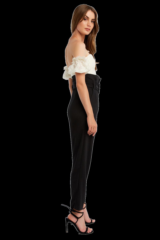 SLIM BUCKLE PANT in colour CAVIAR
