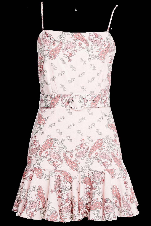 PAISLEY LINEN DRESS in colour PARFAIT PINK