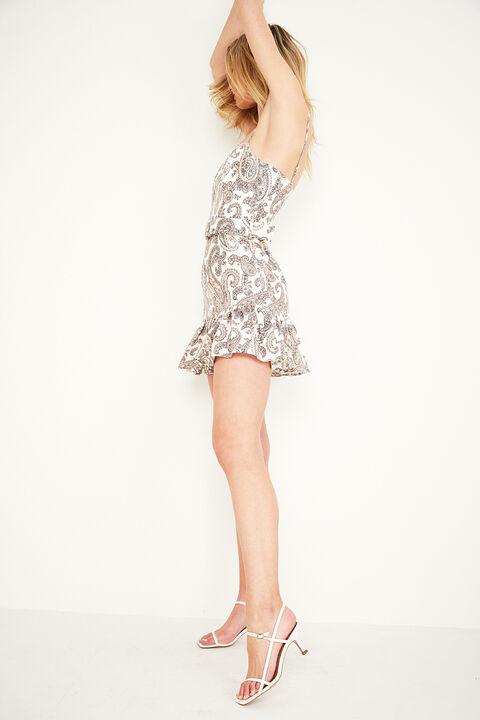 PAISLEY LINEN DRESS in colour CLOUD DANCER