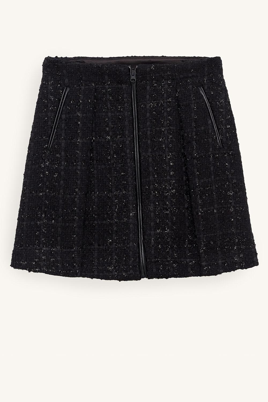 TWEEN GIRL JET BOUCLE BIKER SKIRT in colour JET BLACK