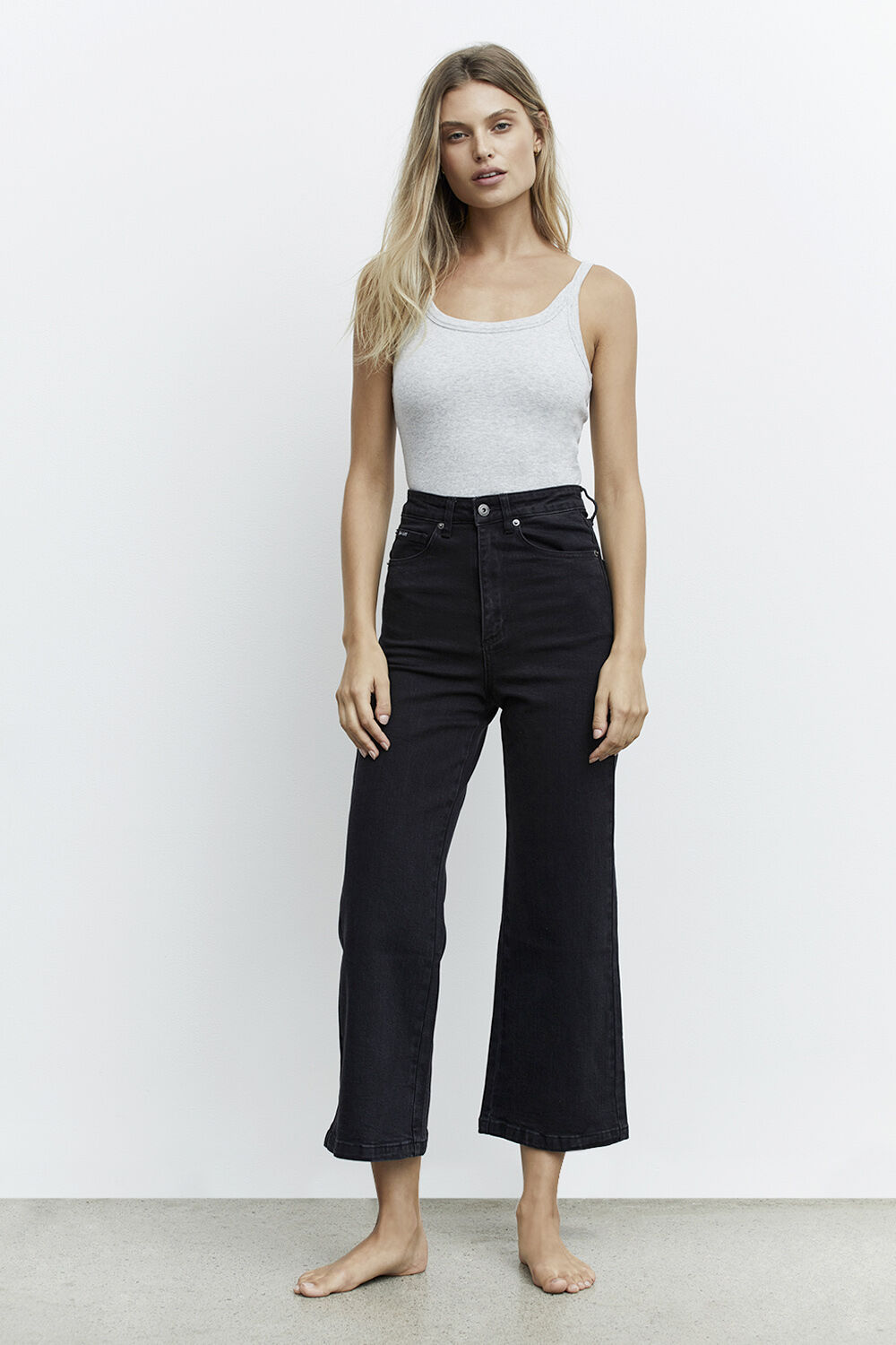 LORA WIDE LEG JEAN in colour CAVIAR