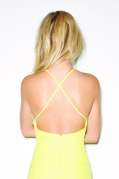 VERA OPEN BACK DRESS in colour PALE BANANA