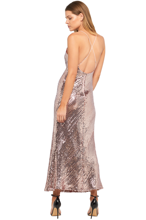 SEQUIN SLIP DRESS in colour SHRIMP