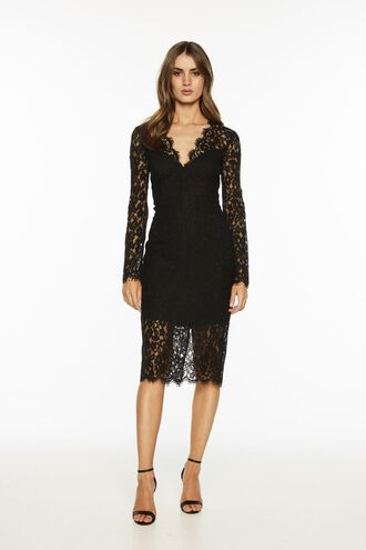 MIDNIGHT LACE DRESS. in colour CAVIAR