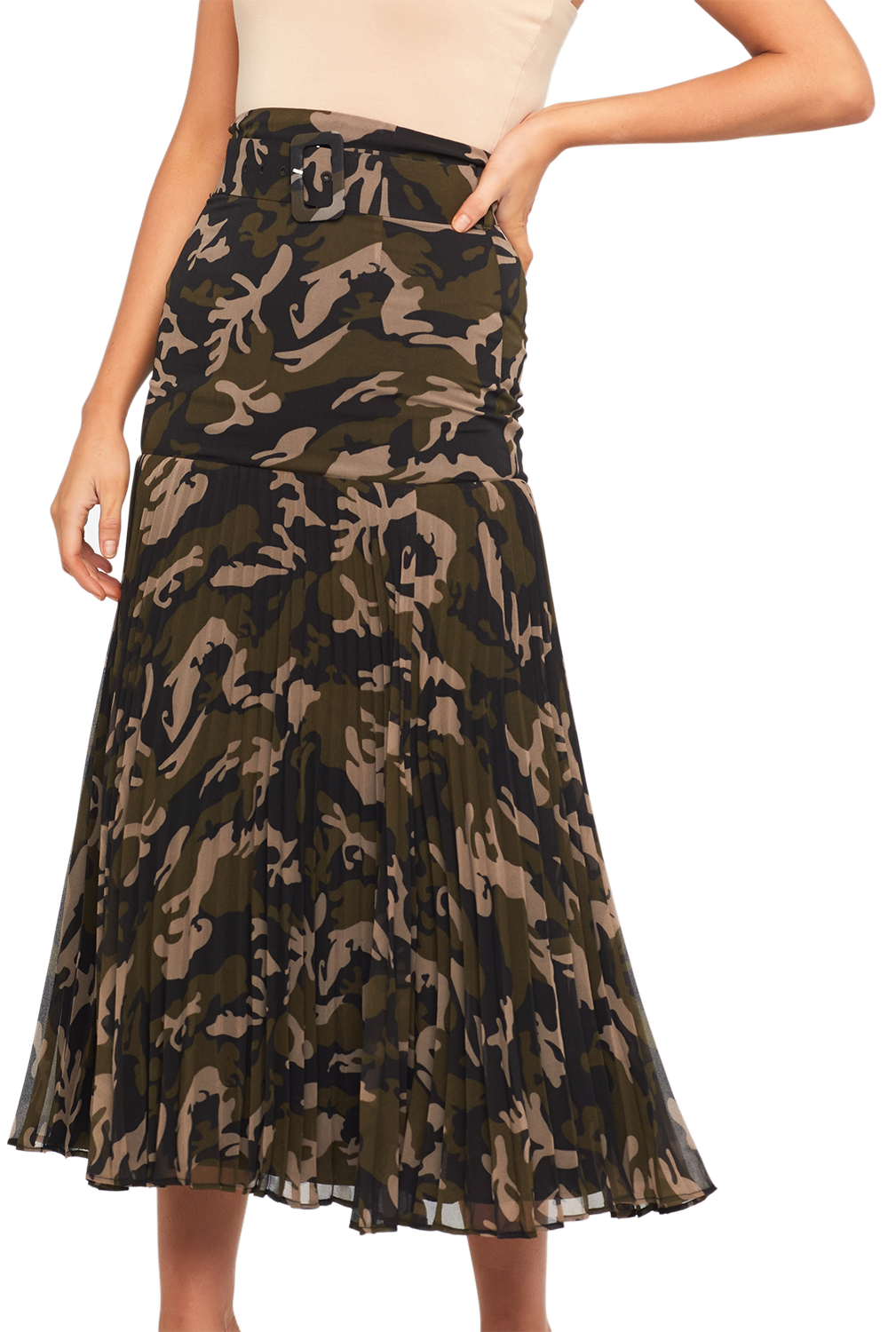 CAMO PLEATED SKIRT in colour BURNT OLIVE