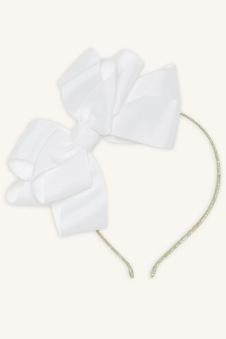LARGE BOW & GLITTER HEADBAND in colour WHITE ALYSSUM