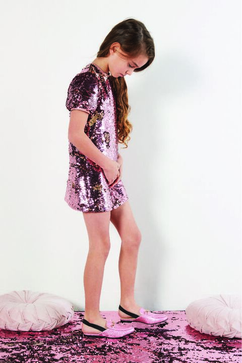 JUNIOR GIRL HARRIET SEQUIN DRESS in colour PALE DOGWOOD